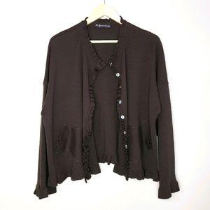 La Fee Maraboutee Long Sleeve Brown 2X Cardigan
